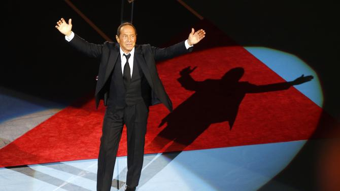 Canadian singer Paul Anka performs during the opening ceremony of the Swiss Indoors ATP tennis tournament in Basel