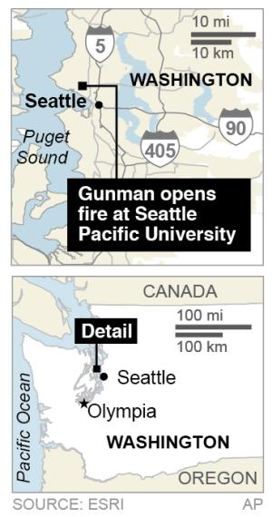 Map locates Seattle, where a gunman opened fire on the campus of Seattle Pacific University.; 1c x 2 1/2 inches; 46.5 mm x 63 mm;