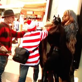 Waldo and Chewbacca Break Up Fight on Hollywood Blvd