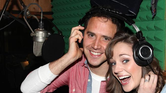 "This March 18, 2013 photo released by Fortune Creative shows Santino Fontana, left, and Laura Osnes  recording the Original Broadway Cast Recording of Broadway's ""Rodgers & Hammerstein's Cinderella"" at MSR Studios in New York. The 29-member cast, plus a 20-piece orchestra that was split up over half a dozen rooms and booths, recorded their cast album in one day. (AP Photo/Fortune Creative, Walter McBride)"