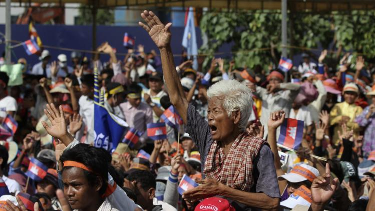 Supporters of the opposition Cambodia National Rescue Party protest at the Freedom Park in central Phnom Penh