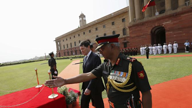 Andrews leaves after inspecting an honour guard during his ceremonial reception in New Delhi