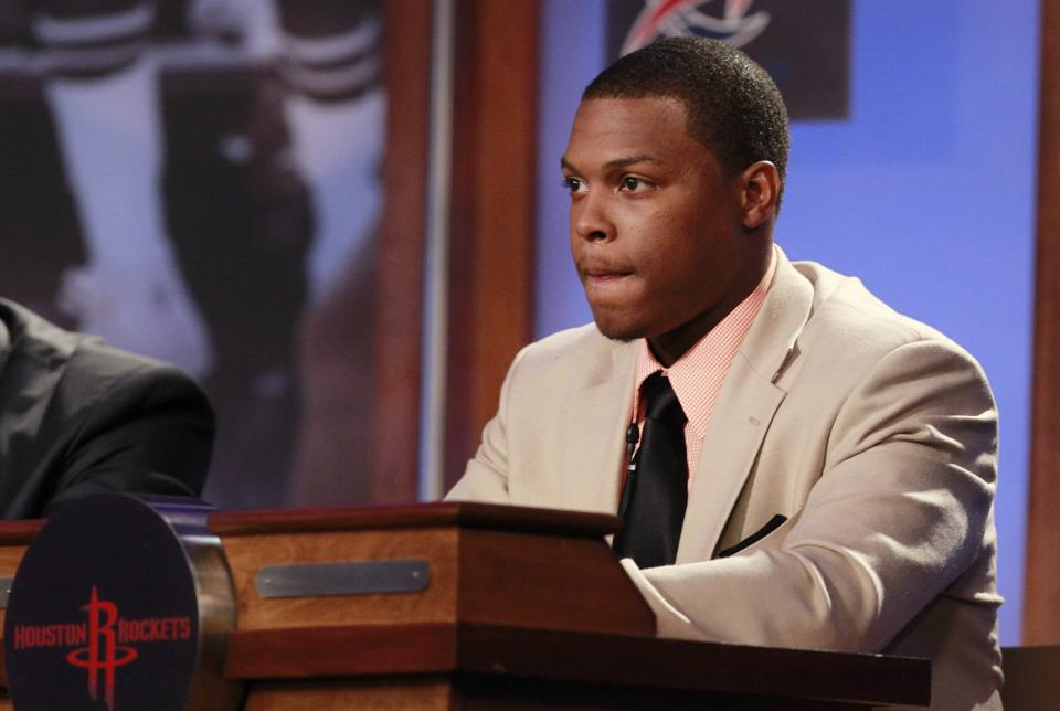 Houston Rockets' Kyle Lowry attends the 2011 NBA basketball draft lottery, Tuesday, May 17, 2011 in Secaucus, N.J. (AP Photo/Julio Cortez)