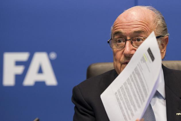FIFA President Sepp Blatter speaks to journalists following the FIFA Executive Committee meeting in Zurich, Switzerland, Friday, Oct. 4, 2013. Blatter said a final decision on which months to play the