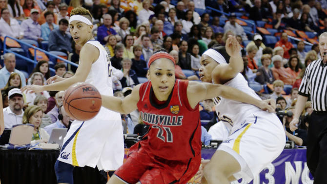 Louisville guard Bria Smith (21) drives the ball against California guard Brittany Boyd (15) in the first half of a national semifinal at the Women's Final Four of the NCAA college basketball tournament, Sunday, April 7, 2013, in New Orleans. (AP Photo/Gerald Herbert)