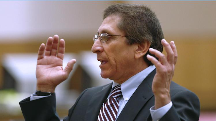 Prosecutor Juan Martinez makes his closing arguments in Jodi Arias' muder trial at Maricopa County Superior Court in Phoenix on Thursday, May 2, 2013. Arias is charged with first-degree murder in the stabbing and shooting death of Travis Alexander, 30, in his suburban Phoenix home in June 2008. (AP Photo/The Arizona Republic, Rob Schumacher, Pool)