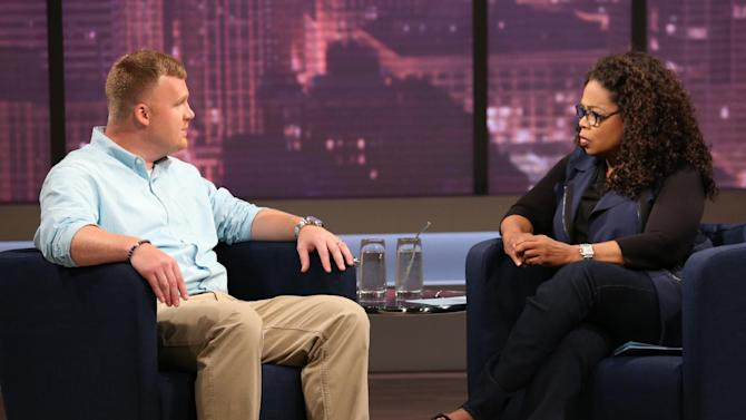 This June 27, 2014 image released by OWN shows Matt Sandusky, the adopted son of former Penn State University assistant football coach Jerry Sandusky, during an interview with Oprah Winfrey, airing on OWN on Thursday, July 17. Matt Sandusky says he enjoyed spending time with the family at their central Pennsylvania home _ except when it came time to go to bed. The Oprah Winfrey Network on Wednesday, July 16, released a clip of Winfrey's interview with Matt Sandusky, who alleges he was sexually abused by his father. (AP Photo/Harpo, Inc., George Burns) MANDATORY CREDIT: GEORGE BURNS