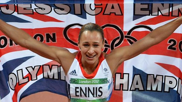 Jessica Ennis celebrates winning the Olympic hepthatlon, August 4 2012 (AFP