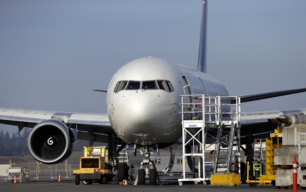 A 787 jet painted in a Delta livery is seen Thursday, Jan. 17, 2013, at Paine Field in Everett, Wash. Federal officials say they are temporarily grounding Boeing's 787 Dreamliners until the risk of po
