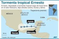 Trayectoria prevista de la tormenta tropical Ernesto que, degradado a tormenta tropical despus de tocar tierra en el este mexicano, dej rboles cados, lluvias y daos. (AFP | Gustavo Izs/Jennifer Hennebert)