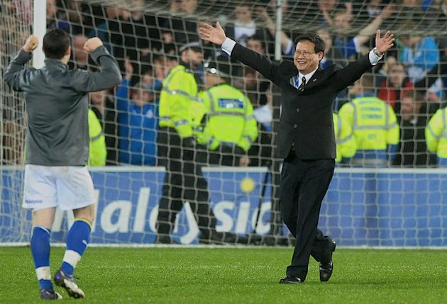 Cardiff City's Malaysian Chairman Dato Chan Tien Ghee (R) Celebrates 
