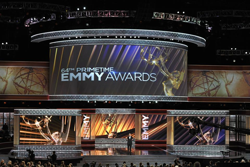 Host Jimmy Kimmel onstage at the 64th Primetime Emmy Awards at the Nokia Theatre on Sunday, Sept. 23, 2012, in Los Angeles. (Photo by John Shearer/Invision/AP)