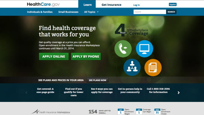 This screenshot made Monday, Oct. 28, 2013 shows the U.S. Department of Health and Human Services' main landing web page for HealthCare.gov. With website woes ongoing, the Obama administration Monday granted a six-week extension until March 31, 2014 for Americans to sign up for coverage next year and avoid new tax penalties under the president's health care overhaul law. (AP Photo/U.S. Department of Health and Human Services)