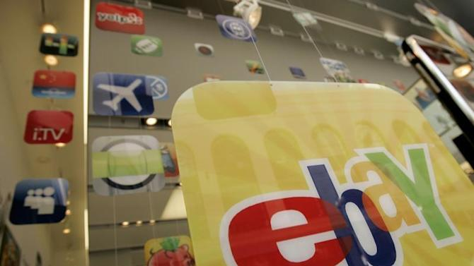 A placard advertising an eBay app for Apple is shown in San Francisco