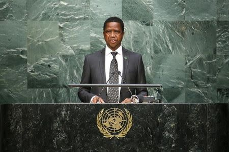 Zambian President Lungu speaks before attendees during the 70th session of the United Nations General Assembly at the U.N. Headquarters in New York