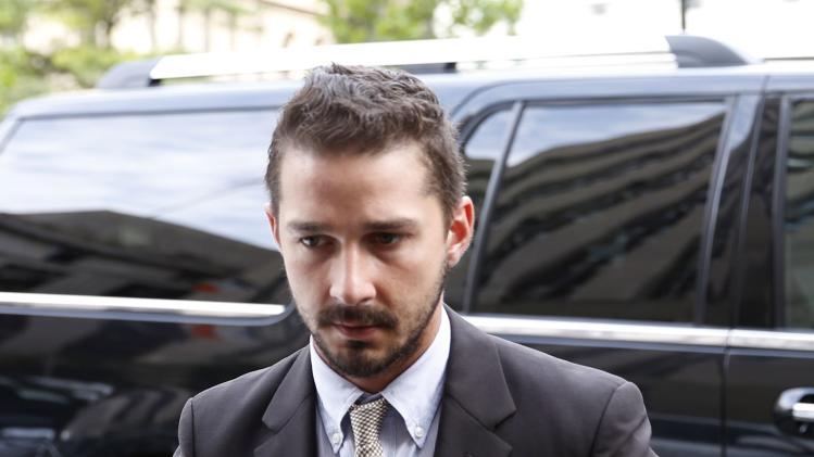 Shia LeBeouf arrives at New York Criminal court in lower Manhattan