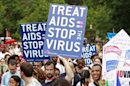 AIDS activists take part in a rally across from the White House in Washington