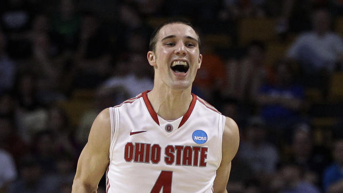 Ohio State guard Aaron Craft reacts as time winds down in an East Regional semifinal in the NCAA men's college basketball tournament Thursday, March 22, 2012, in Boston. Ohio State defeated Cincinnati 81-66. (AP Photo/Elise Amendola)