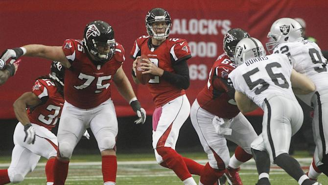 Atlanta Falcons quarterback Matt Ryan (2) drops back to pass against the Oakland Raiders during the second half of an NFL football game, Sunday, Oct. 14, 2012, in Atlanta. (AP Photo/John Bazemore)