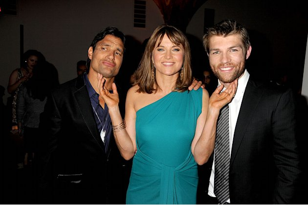 Manu Bennett, Lucy Lawless, and Liam McIntyre attends the Starz Original Series &quot;Spartacus: Vengeance&quot; Premiere Event at ArcLight Cinemas Cinerama Dome on January 18, 2012 in Hollywood, California. 
