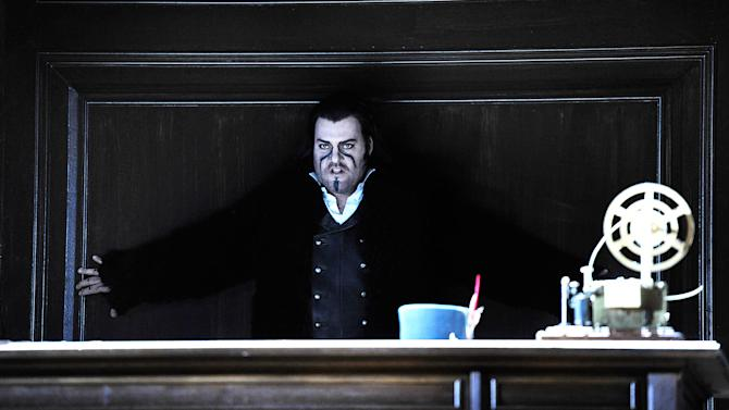"""In this undated photo provided by the Opernhaus, Zurich Bryn Terfel in the role of the Hollaender (Dutchman) performs on stage during a dress rehearsal for Richard Wagner's opera """"Der fliegende Hollaender"""" (The Flying Dutchman) at the opera in Zurich, Switzerland. (AP Photo/Opernhaus Zurich/T+T Fotografie/Toni Suter + Tanja Dorendorf)"""