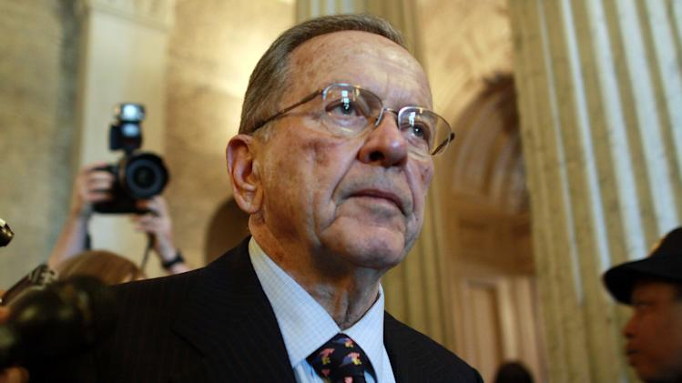 FILE - In this Nov. 29, 2008 file photo, then-Sen. Ted Stevens, R-Alaska, leaves the Senate chamber after making his last formal speech on the Senate floor. The Justice Department's internal ethics watchdog on Thursday, May 24, 2012 said that two prosecutors in the bungled corruption case against Stevens engaged in reckless professional misconduct by failing to disclose information favorable to the lawmaker, who eight days after his 2008 conviction lost re-election to the seat he held for 40 years. The Office of Professional Responsibility, however, did not find that the misconduct was intentional. (AP Photo/Lauren Victoria Burke. File)