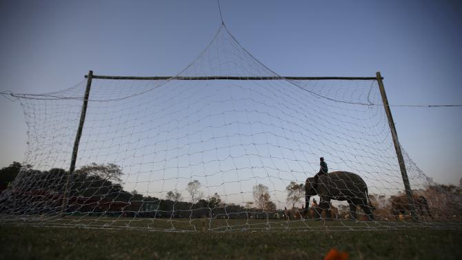 A mahout on his elephant walks in front of a goalpost while playing a soccer match during an Elephant Festival event at Sauraha in Chitwan