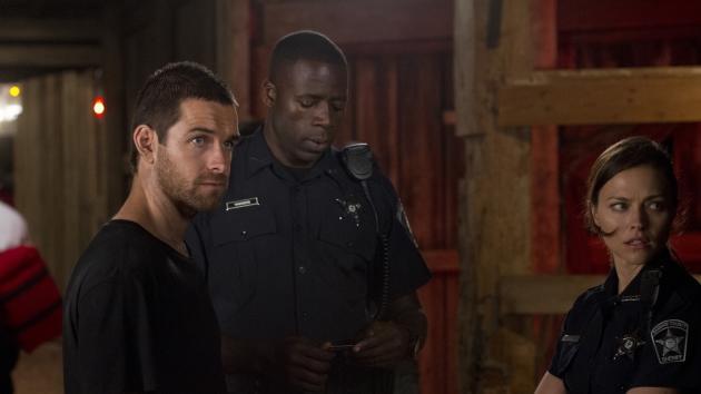 Anthony Starr, Demetrius Grosse, Trieste Dunn in the barn rave scene in Episode 2, Season 1 of Cinemax's 'Banshee' --