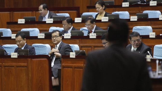 Sam Rainsy, president of the Cambodia National Rescue Party, attends a plenary session at the National Assembly in Phnom Penh