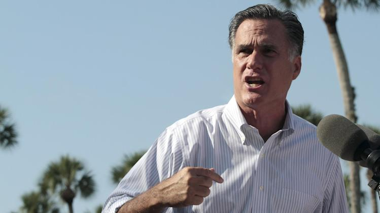 Republican presidential candidate, former Massachusetts Gov. Mitt Romney speaks during a campaign event at Flagler college, Monday, Aug. 13, 2012, in St. Augustine, Fla.  (AP Photo/Mary Altaffer)