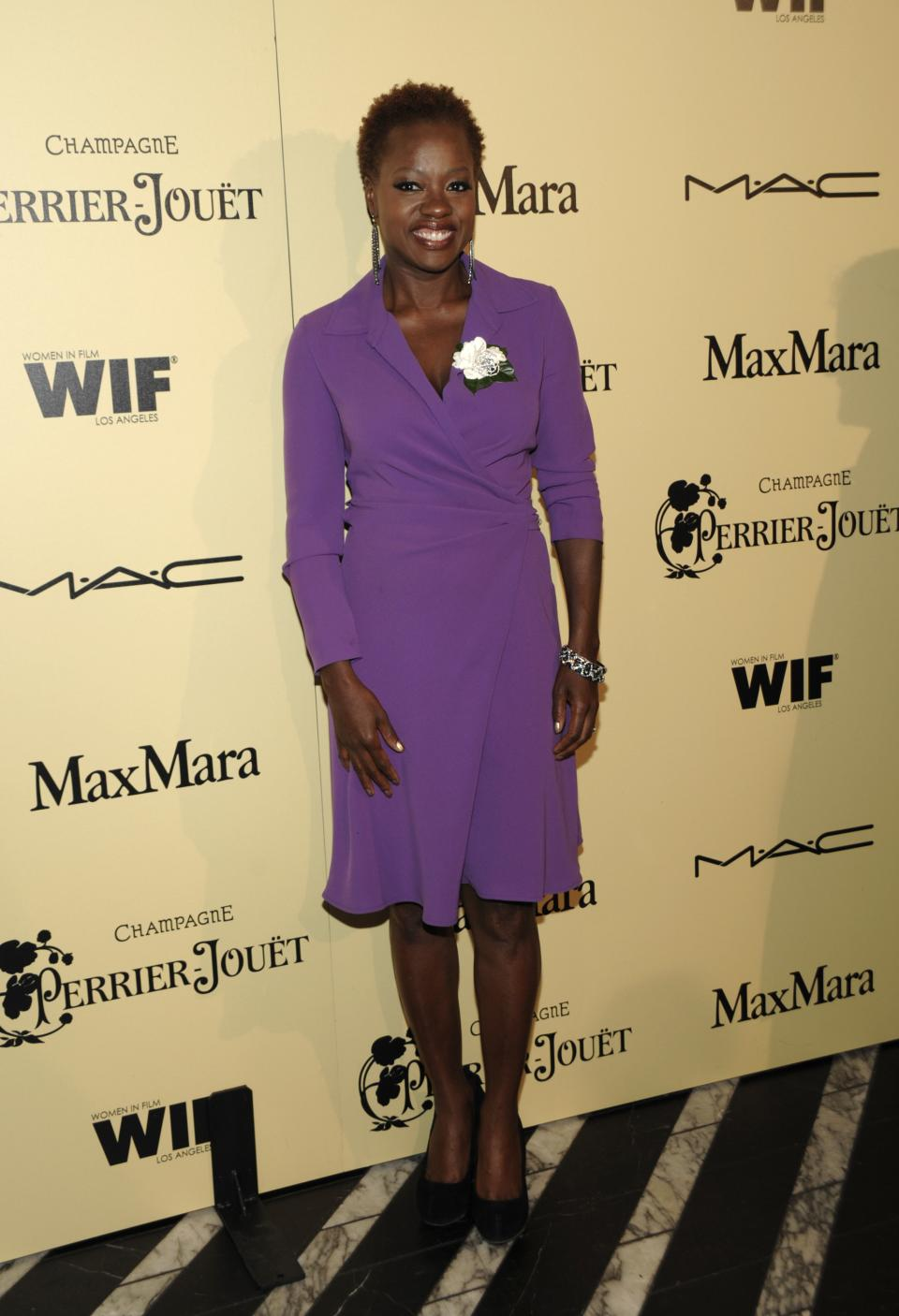 Actress Viola Davis arrives at the Women In Film 2012 Academy Award Party in West Hollywood, Calif. on Friday, Feb. 24, 2012. (AP Photo/Dan Steinberg)