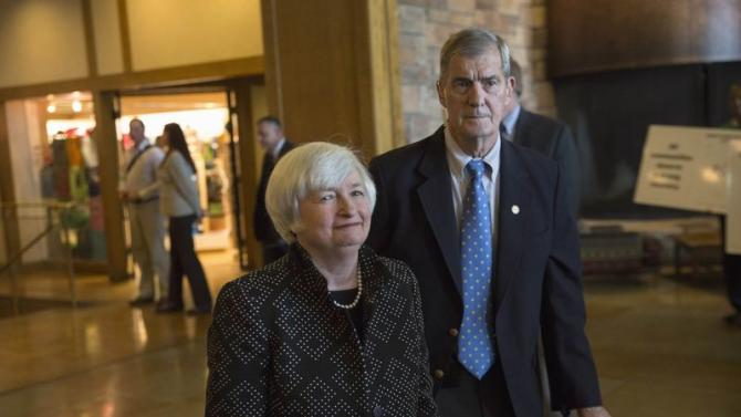 Janet Yellen, Chair of the Federal Reserve, enters the opening reception of the Jackson Hole Economic Policy Symposium in Jackson Hole