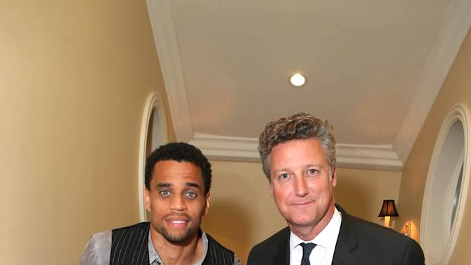 Michael Ealy and VP of Prestige Brands at Remy Cointreau Yves de Launay at Louis XIII Cognac's Legacy Experience LA with Icon Mann held at a Private residence on Wednesday, October 1, 2014 , in Beverly Hills, CA. (Photo by Alexandra Wyman/Invision for M Collective, LLC/AP Images)
