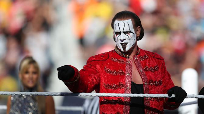 IMAGE DISTRIBUTED FOR WWE - WWE Superstar Sting makes his first ever WrestleMania appearance at Levi's Stadium on Sunday, March 29, 2015 in Santa Clara, CA. WrestleMania broke the Levi's Stadium attendance record at 76,976 fans from all 50 states and 40 countries. (Don Feria/AP Images for WWE)