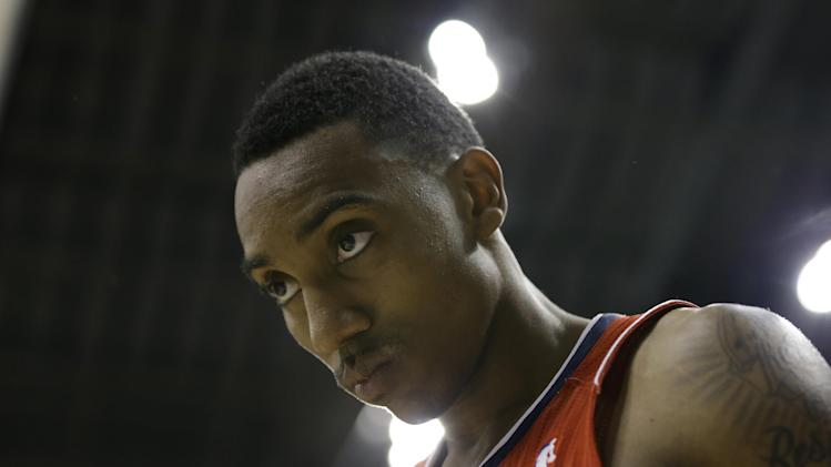 Atlanta Hawks' Jeff Teague walks off the court after Indiana Pacers defeated Atlanta, 106-83 in Game 5 in the first round of the NBA basketball playoff series on Wednesday, May 1, 2013, in Indianapolis. (AP Photo/Darron Cummings)