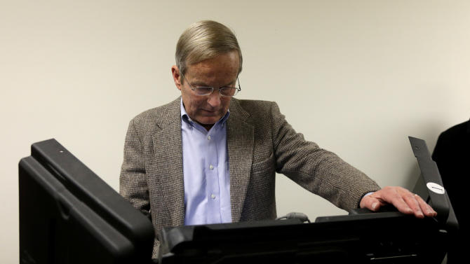 Missouri U.S. Senate candidate, Rep. Todd Akin, R-Mo., votes at his polling place, Star Bridge Christian Center, Tuesday, Nov. 6, 2012, in Wildwood, Mo. Akin is running against incumbent Sen. Claire McCaskill, D-Mo. (AP Photo/Jeff Roberson)