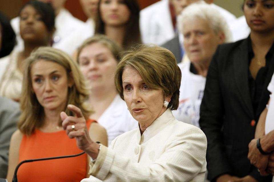 House Minority Leader Nancy Pelosi of Calif. gestures while speaking about the Affordable Care Act, Wednesday, July 11, 2012, on Capitol Hill in Washington. (AP Photo/Haraz N. Ghanbari)