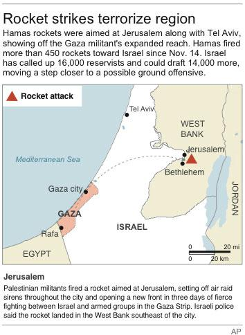 Map shows locations of recent rocket attacks between Israel and Gaza