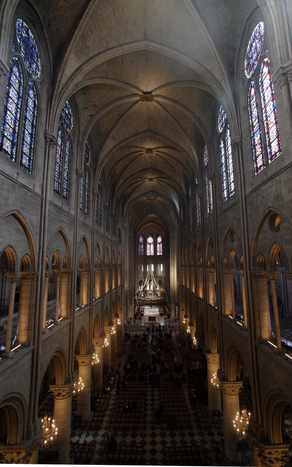 This Thursday May 2, 2013 photo shows the view from the organ loft at Notre Dame cathedral in Paris. The organ was refurbished for the cathedral's 850th anniversary this year. (AP Photo/Christophe Ena)
