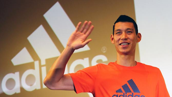 Basketball star Jeremy Lin at a press conference in Taipei on July 18, 2014