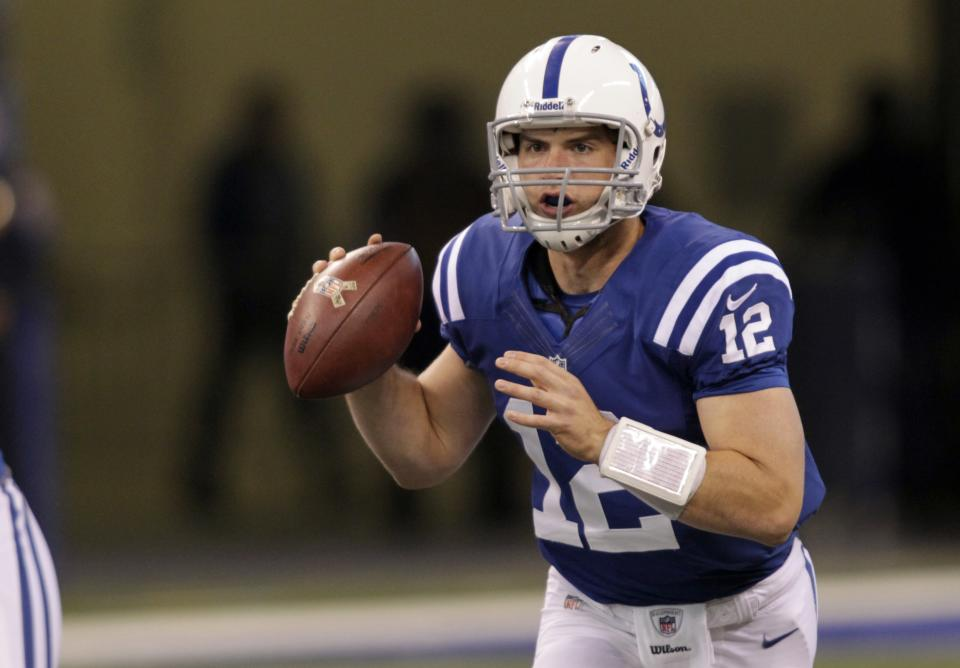 Indianapolis Colts quarterback Andrew Luck looks to throw against the Miami Dolphins during the first half of an NFL football game in Indianapolis, Sunday, Nov. 4, 2012. (AP Photo/AJ Mast)