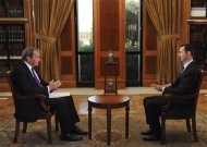 """CBS This Morning"" co-host Charlie Rose (L) interviews Syrian President Bashar al-Assad at the Presidential Palace in Damascus, Syria in this September 9, 2013 handout photo. REUTERS/CBS News/Handout"