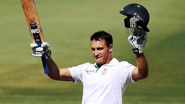 South Africa's Faf du Plessis celebrates reaching a century during the fifth day's play of the second Test against Australia (Reuters)