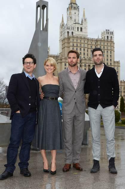 J.J. Abrams, Alice Eve, Chris Pine, Zachary Quinto attend a photo call of the 'Star Trek Into Darkness' Photocall at the Planetarium, Moscow, on April 25, 2013 -- Getty Images