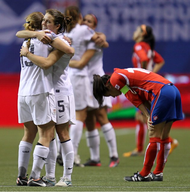 United States' Rachel Buehler (19) and Kelly O'Hara (5) celebrate their team's 3-0 win over Costa Rica in CONCACAF women's Olympic qualifying soccer game action at B.C. Place in Vancouver, British Col