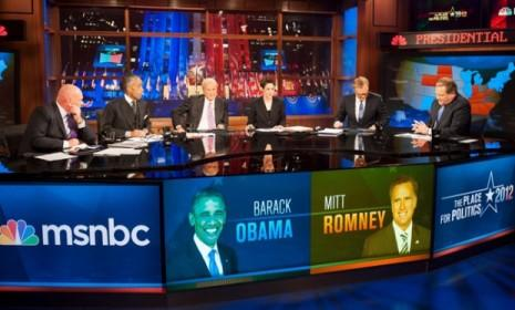 The MSNBC team, including Chris Matthews and Rachel Maddow, on Election Night. Their hosting panel included just one conservative: moderate Republican Steve Schmidt.