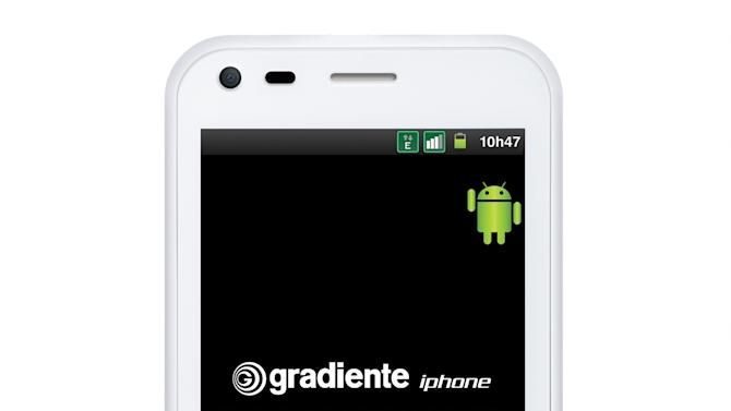 "In this image provided by Gradient S.A., is seen the company's smartphone with the iPhone brand. A Brazilian consumer electronics manufacturer has begun selling smartphones with the iPhone brand, a trademark it has the right to use in Latin America's biggest country. Gradiente SA says in a statement that in 2008 the government gave it the right to use the brand on its cellphones and the ""exclusive rights to produce and sell them in Brazil."" (AP Photo/Gradient S.A.)"
