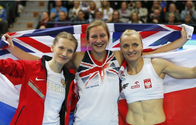Rogowska, Bleasdale and Sidorova celebrate after competing in the Pole Vault Women Final at the European Athletics Indoor Championships in Gothenburg