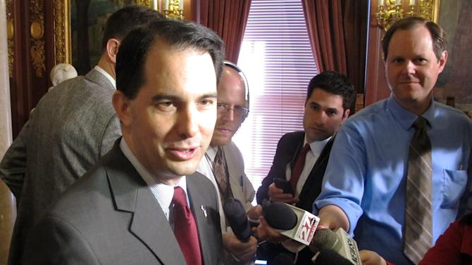 Gov. Scott Walker says the IRS's targeting of conservative groups for extra scrutiny is a real threat to our freedoms, on Tuesday, May 14, 2013, in Madison, Wis. (AP Photo/Scott Bauer)