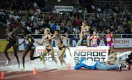 Athletes compete during the women's 3000m steeplechase race of the DN Galan Diamond League athletics meeting at the Stockholm Olympic Stadium. Yuliya Zaripova clocked a season's best time of 9min 05.02sec to win